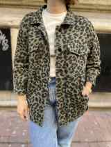 Leopard Print Denim Jacket Green 3